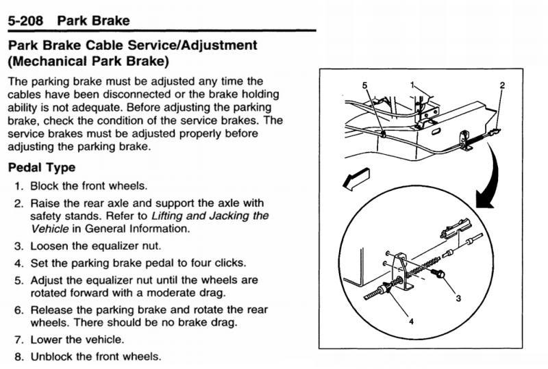 manual, foot operated parking brake adjustment  - iRV2 Forums