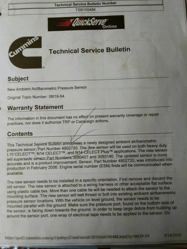 Cummins Service Bulletin - iRV2 Forums