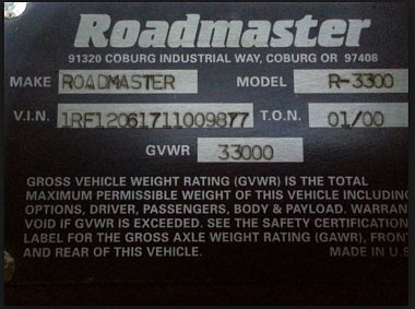 Click image for larger version  Name:Roadmaster Chassis VIN example.JPG Views:15 Size:72.5 KB ID:262197