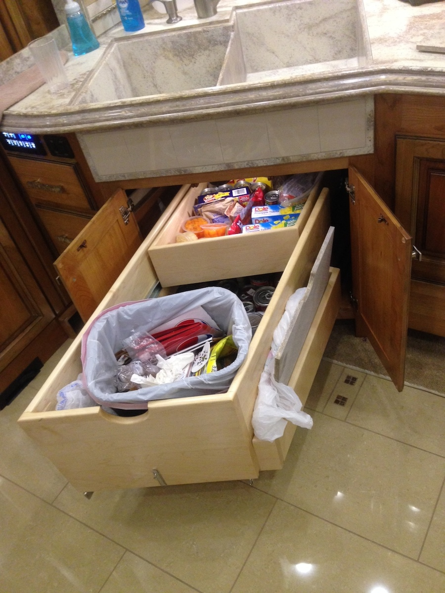 Click image for larger version  Name:Large Tater Drawer which we use as our can pantry below and miscellaneous edibles above - trash .jpg Views:115 Size:373.2 KB ID:53486