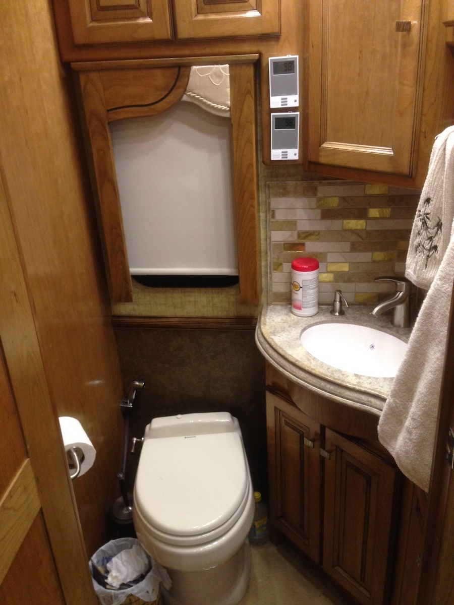 Click image for larger version  Name:Half Bath with large cabinet under sink and medicine cabinet above - Heated Floor Thermostats on.jpg Views:104 Size:326.2 KB ID:53491