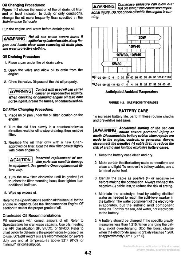 Oil reccomendation for Onan BGE series Generator - iRV2 Forums