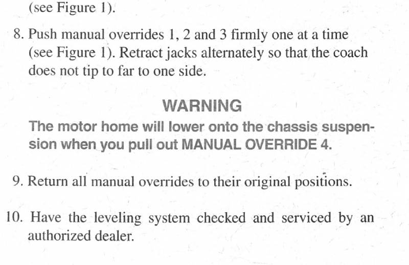 American Coach Manual Leveling Jack Procedure How To Raise